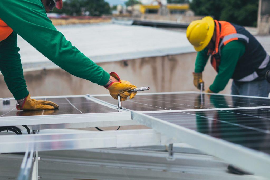 installing solar panels used for solar energy